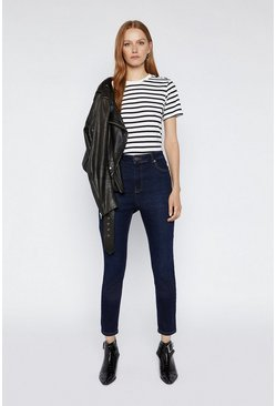 Blue Stripe Button Shoulder Tee