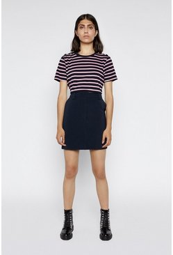 Navy Stripe Button Shoulder Tee