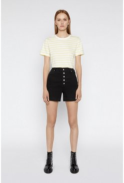 Yellow Stripe Button Shoulder Tee