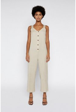 Stone Button Through Linen Jumpsuit