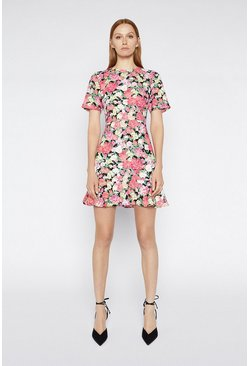 Multi Floral Peplum Hem Dress