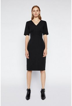 Black Crepe Pencil Dress