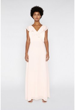 Light pink Frill Wrap Maxi Dress
