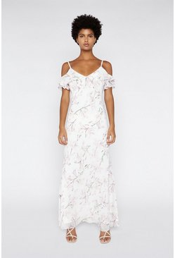 Pink Cold Shoulder Maxi Dress