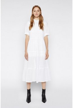 White Embroidered Tiered Midi Dress