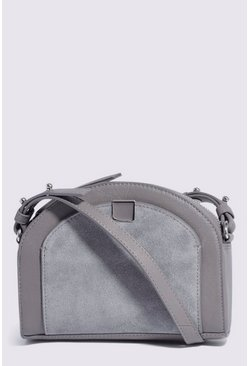Light grey Leather Pocket Crossbody Bag