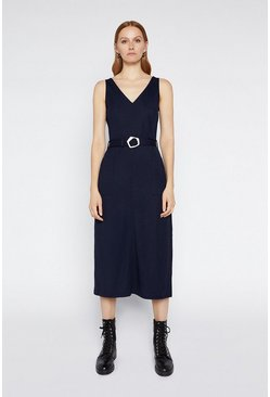 Navy Pique Buckle Midi Dress