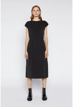 Black Premium T-Shirt Midi Dress