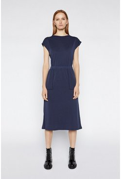 Navy Premium T-Shirt Midi Dress