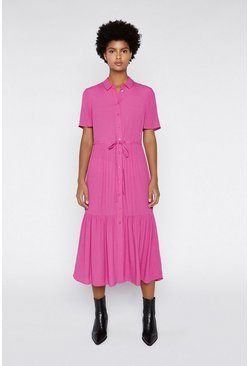 Bright pink Tiered Midi Shirt Dress