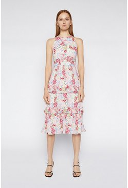 Multi Floral Pleated Midi Dress