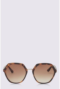 Tan Hexagon Frame Sunglasses