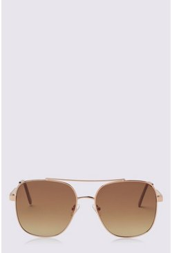 Gold 70s Square Frame Aviator