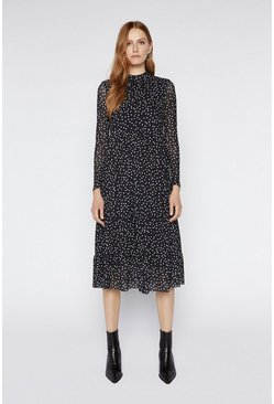 Black Spot Tiered Midi Dress