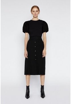 Black Twill Button Midi Skirt
