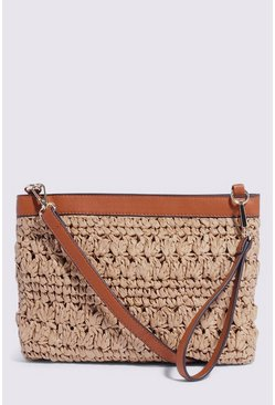 Tan Stitch Detail Multiway Clutch