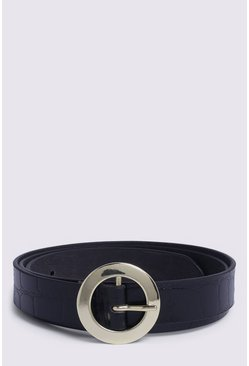 Black Leather Croc Belt