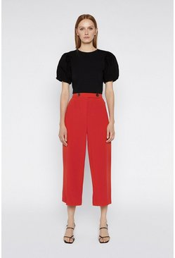 Red Button Tab Wide Crop Trousers