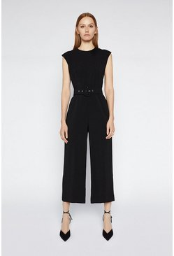 Black Buckle Crepe Jumpsuit