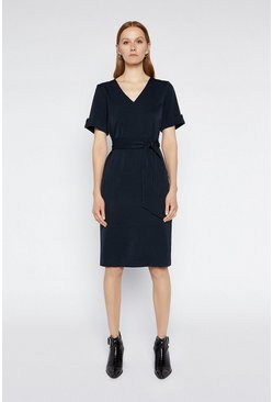 Navy Tie Waist Crepe Dress