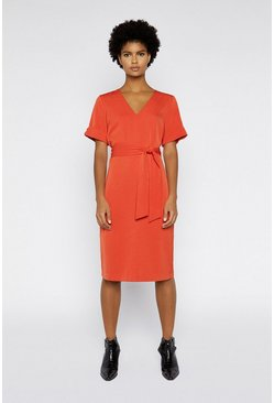 Orange Tie Waist Crepe Dress