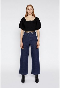 Black Puff Sleeve Button Front Top