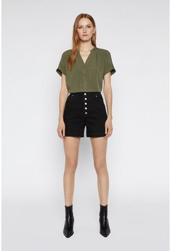 Khaki Over The Head Short Sleeve Top