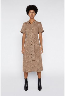 Brown Mini Fleck Midi Shirt Dress
