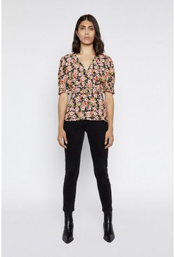 Multi Crowded Floral Belted Top