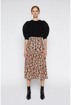 Multi Floral Belted Midi Skirt