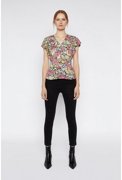 Multi Floral Button Front Top