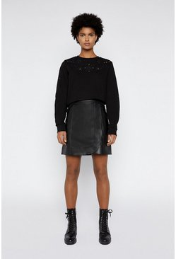 Black Cutwork Sweat