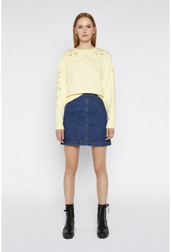 Lemon Cutwork Sweat