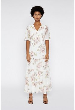 Multi Floral Chiffon Maxi Dress