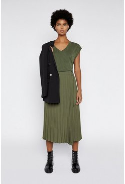 Khaki Pleated Wrap Midi Skirt