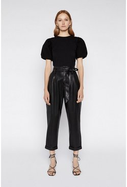 Black Puff Sleeve Poplin Mix Top
