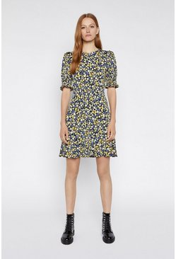 Yellow Floral Shirred Cuff Dress