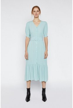 Light blue Belted Button Front Midi Dress