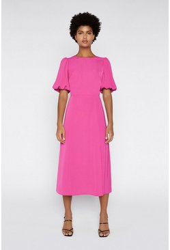 Bright pink Puff Sleeve V-back Midi Dress