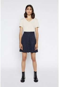 Blue Spot Pique Mini Skirt