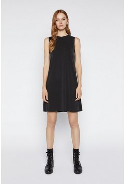 Black Premium Column Short Dress