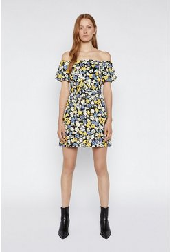 Multi Floral Bardot Mini Dress