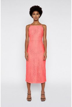 Coral High Neck Lace Dress
