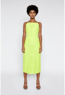 Lime High Neck Lace Dress