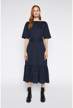 Blue Pique Spot Midi Tiered Dress