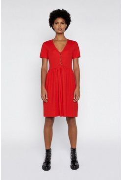 Red Pique V Neck Dress