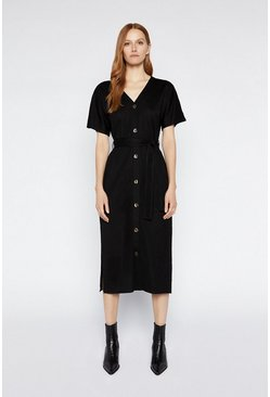 Black Batwing Pique Midi Dress