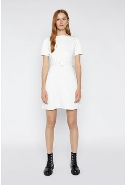 Ecru Slash Neck Ponte Dress