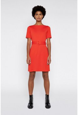 Red Slash Neck Ponte Dress