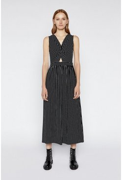 Black Stripe Twist Front Maxi Dress